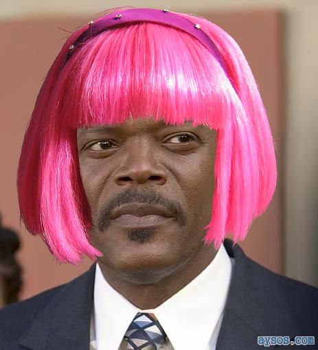 Samuel L Jackson with Pink Hair