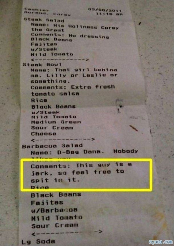 Funny receipt spitting in your food