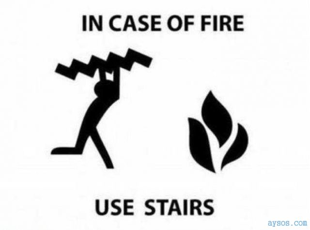 Funny use stairs in case of fire