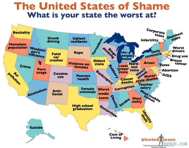 United States map of shame