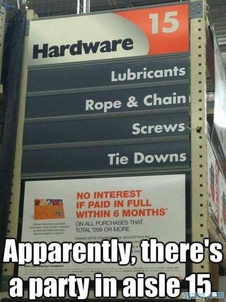 50 Shades of Grey aisle at Home Depot