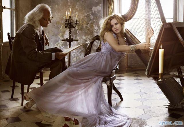 Emma Watson beautiful playing harp