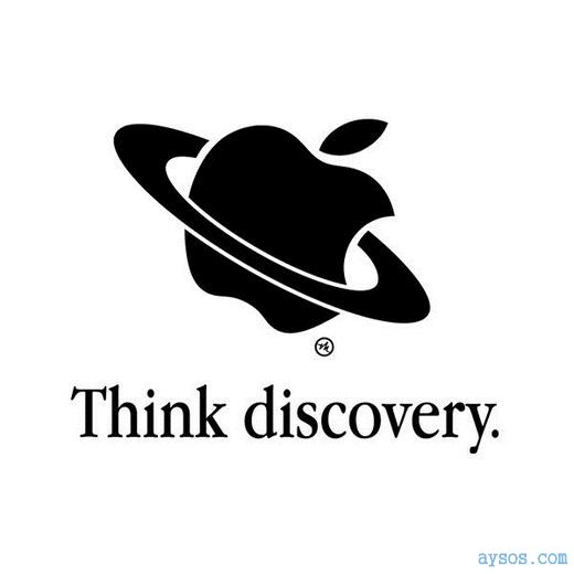 Funny Apple logo think discovery
