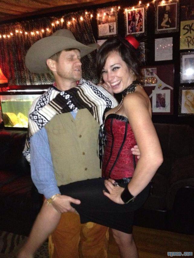 Cute bar maid flirts with a cowboy customer