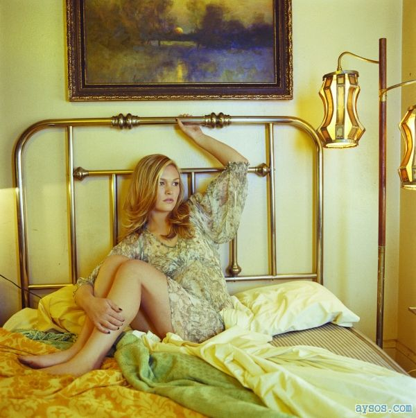 Beautiful Julia Stiles in a messy bed