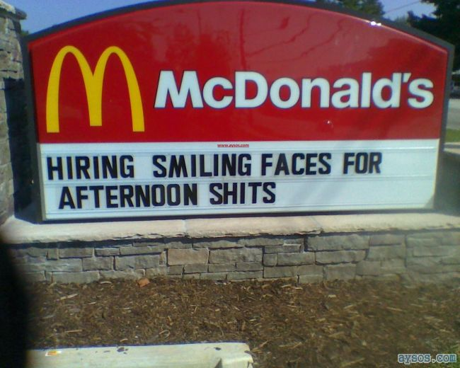 McDonalds Hiring Smiling Faces for Shits