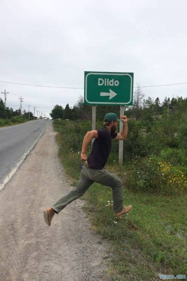 Funny dildo road sign