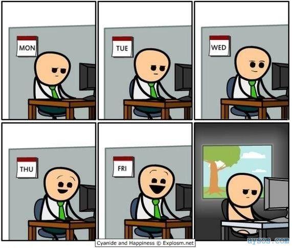 Computer Based Work Week Funny Comic