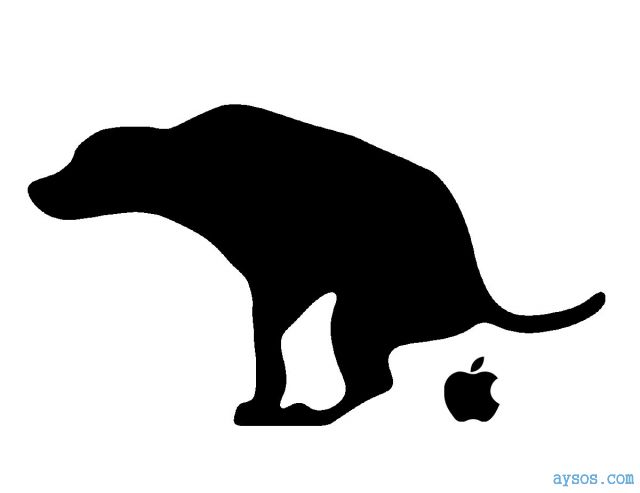 Apple logo gets pooped by doggie