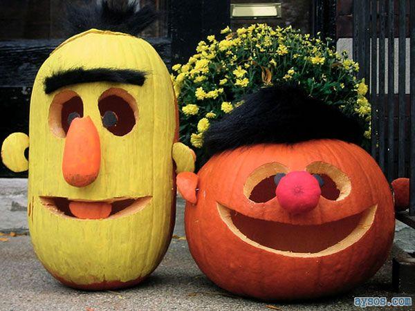 Halloween Bert and Ernie Pumpkins