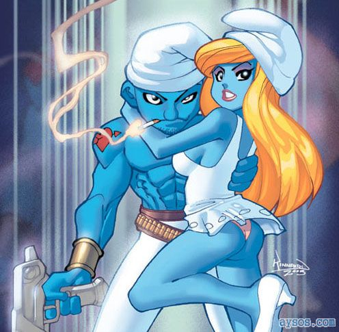 Hot Smurfette and buff Lovey Smurf