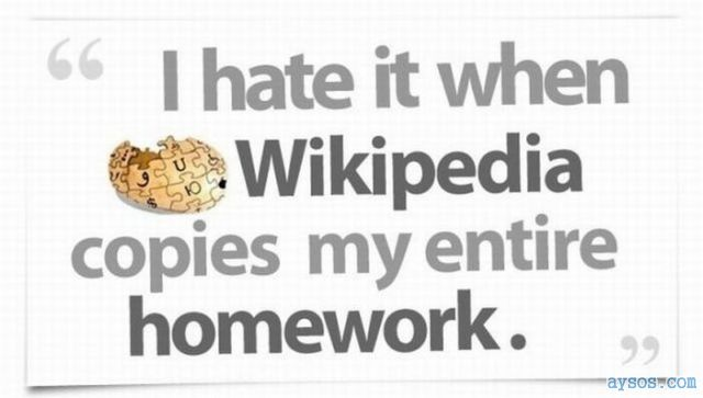 Wikipedia copies your homework