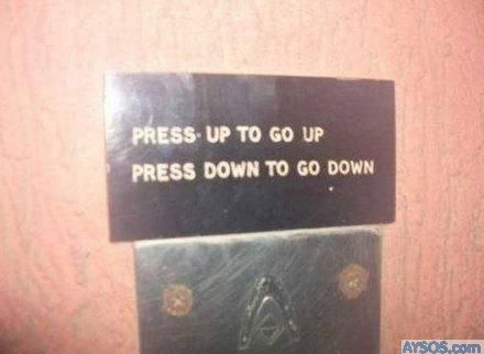 Funny Elevator button sign