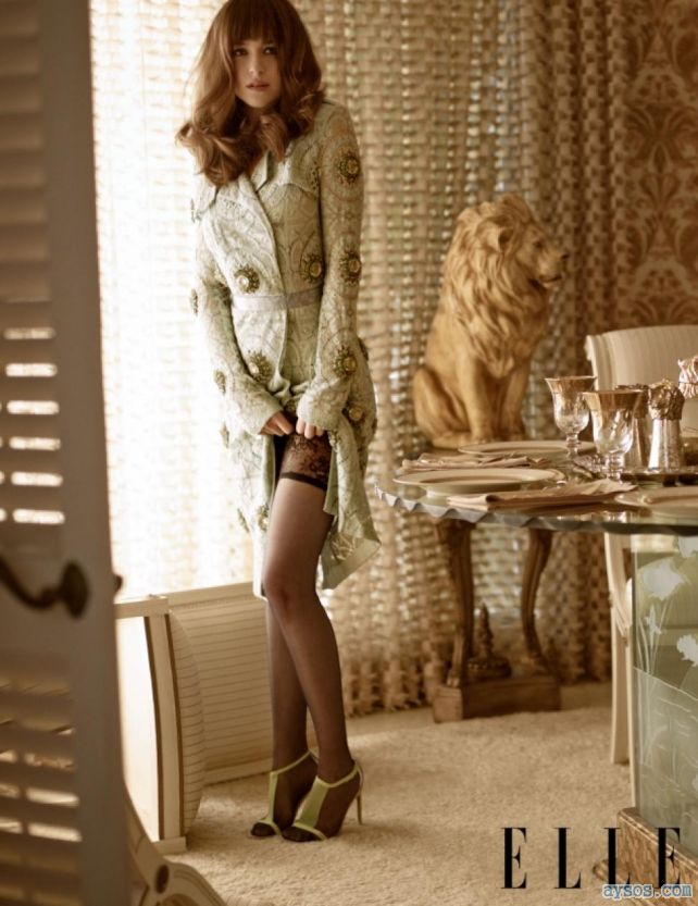 Dakota Johnson lacey stockings and heels