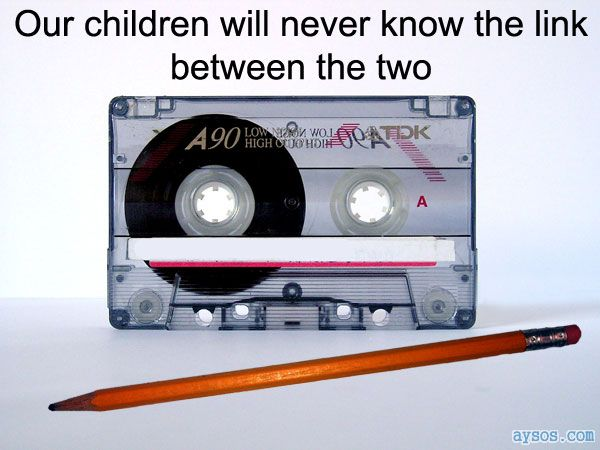 Cassette tape and a pencil link