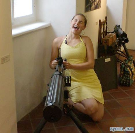 Amanda Knox with a big gun