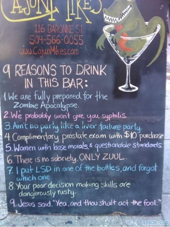 Reasons to drink in a bar