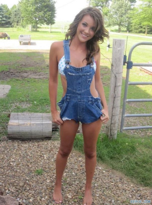 Cute farmer babe in her overalls