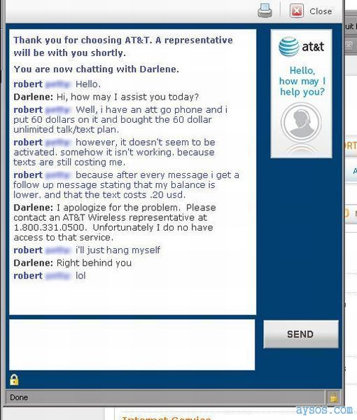 Funny AT&T support Chat session