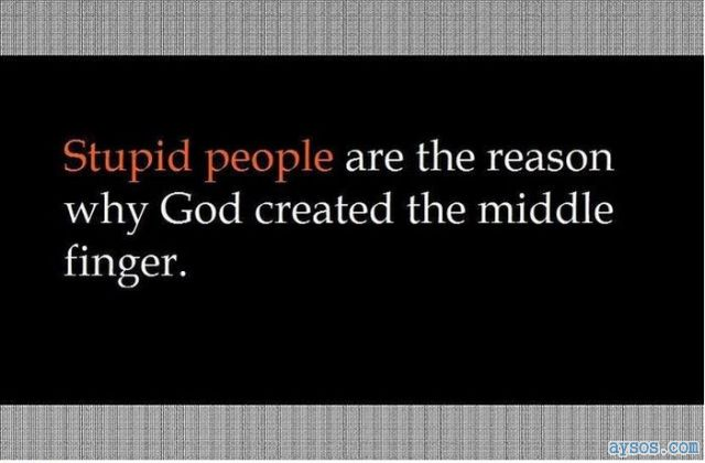Stupid people are why we have middle fingers