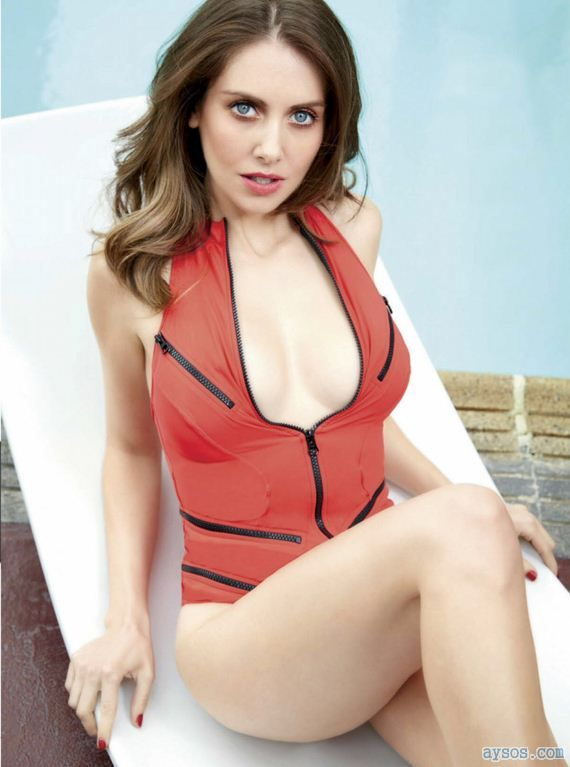 Alison Brie Red Swimsuit