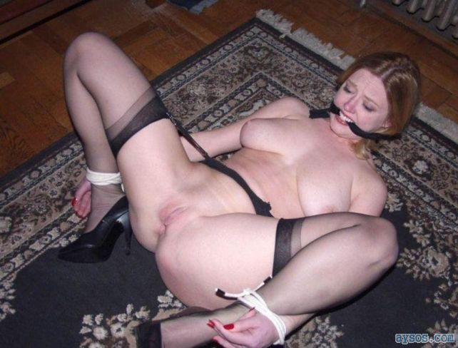 Tied up wife in stockings and heels spread open