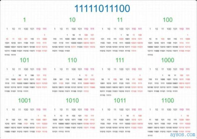 2012 binary calendar