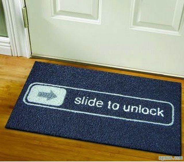iPhone door mat slide to unlock