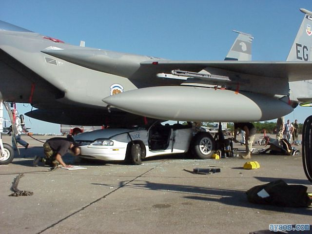F-15 fighter and Police car accident